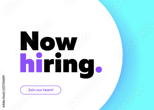 now hiring vector background trendy bold black typography job