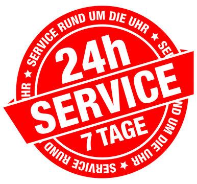 "Button Banner ""24h Service"" rot/silber"