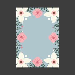 Common size of floral greeting card and invitation template for wedding or birthday anniversary, Vector shape of text box label and frame, Colorful flowers wreath ivy style with branch and leaves.