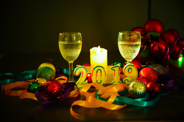 Glasses of champagne and new year decorations