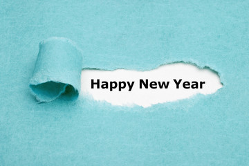 Happy New Year Torn Blue Paper Greeting Card