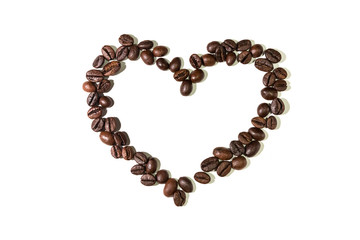 A heart built with coffee beans.