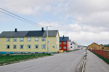 Travel to Norway. Beautiful authentic colorful houses in small towns in the North of Norway