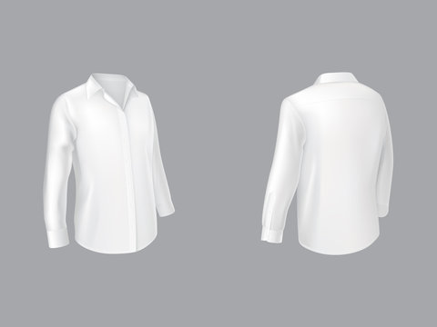 White shirt with long sleeves half turn front and back view realistic vector isolated on grey background. Mens traditional clothing, male classic wear, every day and casual cloth element illustration