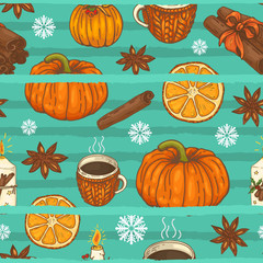 seamless pattern with pumpkins, cups, spices and snowflakes