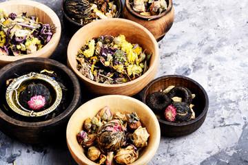 Various kind of leaf tea