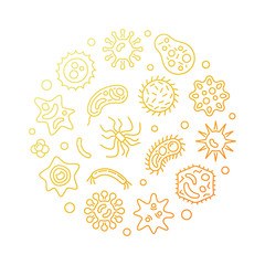 Pathogenicity round vector golden illustration in outline style. Microbes and viruses concept circular symbol on white background