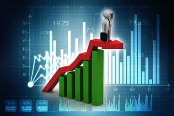 3d rendering Stock market online business concept. business Graph successful business man