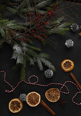 Flat lay with bright christmas decoration. Winter festive Christmas New Year view. screen saver, postcard.