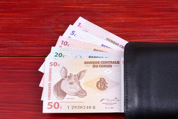 Congolese money in the black wallet