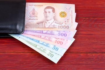 Thai Baht in the black wallet