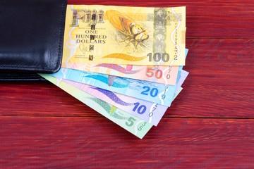 Fijian money in the black wallet
