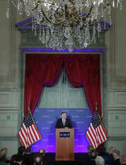 U.S. Secretary of State Mike Pompeo speaks at a conference of the German Marshall Fund of the United States in Brussels