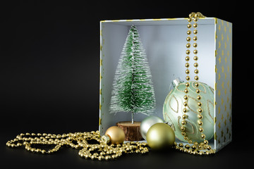 Christmas decoration gift box on black background