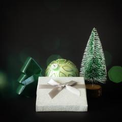 Christmas decoration gift box on black background