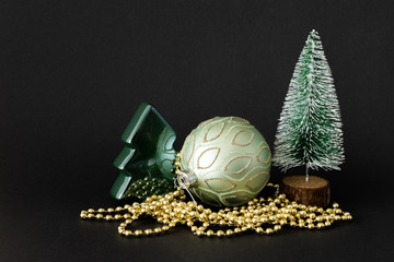 Christmas decoration glass ball with fir trees
