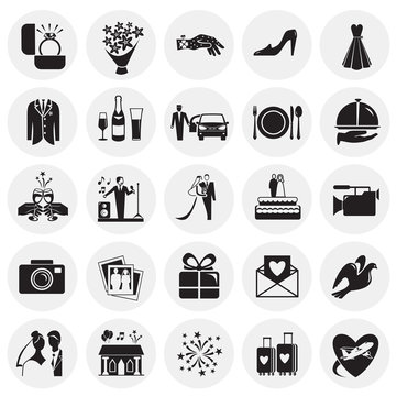Wedding icons set on circles background for graphic and web design, Modern simple vector sign. Internet concept. Trendy symbol for website design web button or mobile app