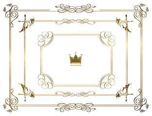 金属の質感のバロック調のオーナメント・飾り罫・飾り囲みのセット(チョーク調 Baroque ornament