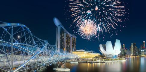 Beautiful fireworks above Marina bay in Singapore