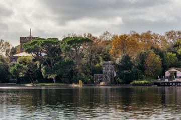 Beautiful view of Torre del Lago from Lake Massaciuccoli, Lucca, Tuscany, Italy