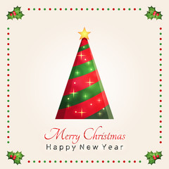Christmas tree with a greeting Merry Christmas and Happy New Year text and decorative green leaves and red berries for design card, poster, banner