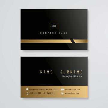 black and gold business card design template vector