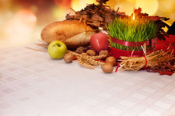 Orthodox Christmas offerings with growing green wheat