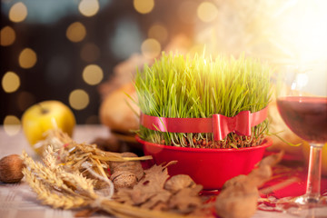 Traditional Christmas decoration with Christmas wheat
