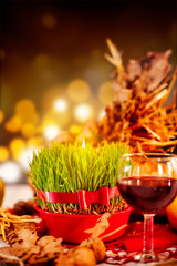 Christmas wheat and wine glass. Christmas orthodox celebration.