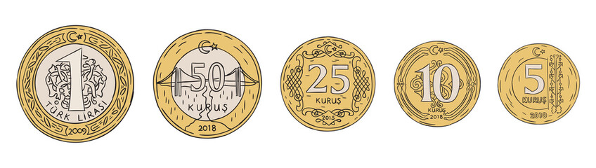 turkish liras hand drawn set vector