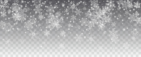 Vector snowfall, snowflakes of various shapes. Many white cold flaky elements on transparent background. White falling fly in the air. Fotobehang