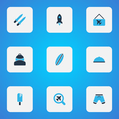 Journey icons colored set with surfboard, find an airplane, shorts and other weapon  elements. Isolated vector illustration journey icons.
