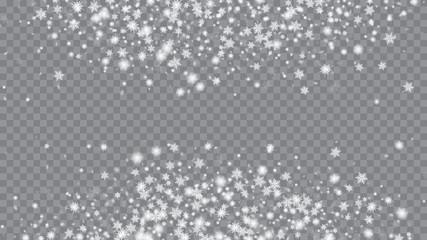 Glitter snowflakes background. Card or banner with flakes confetti scatter frame, snow elements. Festive illustration for christmas card. Transparent base.