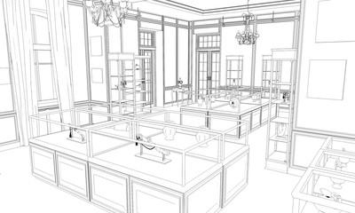 museum, exhibition hall, contour visualization, 3D illustration, sketch, outline