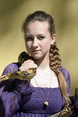 Girl with a snake python