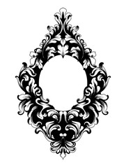 Baroque mirror frame Vector. Victorian ornamented border monogram floral ornament leaf scroll engraved retro flower decorative design. filigree calligraphic heraldics