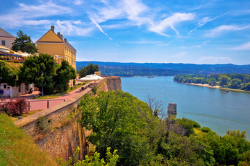 Danube river landscape view from old hillside Petrovaradin town Wall mural