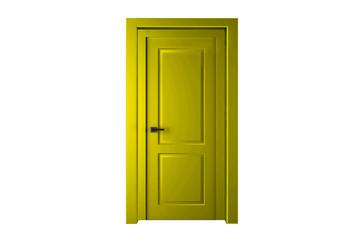 Single yellow door closed - door frame only, no walls