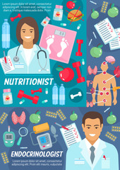 Nutritionist and endocrinologist medical poster