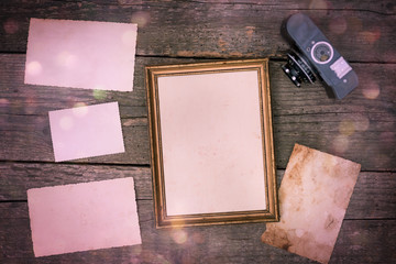 Merry christmas (xmas) photo album on old wood table