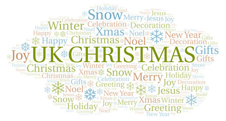 Uk Christmas word cloud.