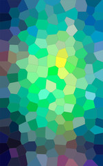 Illustration of Vertical blue, green and yellow bright Middle size hexagon background.