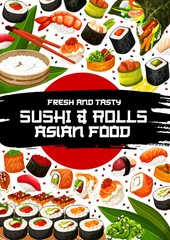 Japanese restaurant poster with sushi and rolls