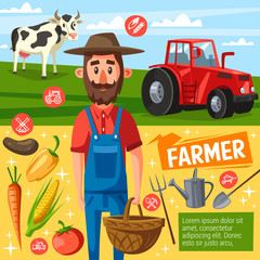Farmer profession poster with farm harvest and cow