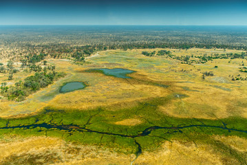 Okavango delta (Okavango Grassland) is one of the Seven Natural Wonders of Africa (view from the airplane) Botswana, South Western Africa.