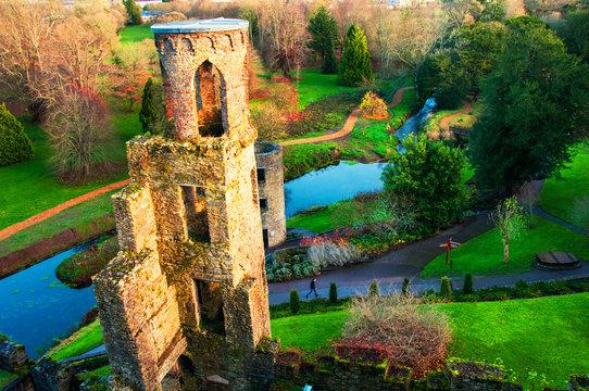 Autumn in Ireland. Aerial view of Blarney Castle tower in Ireland