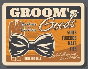 Groom goods retro poster with tuxedo and bowtie