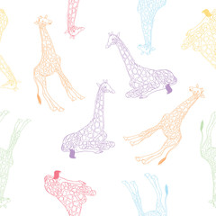 Giraffe vector pattern for textile, fabric, fashion clothes. African animal illustration isolated on background