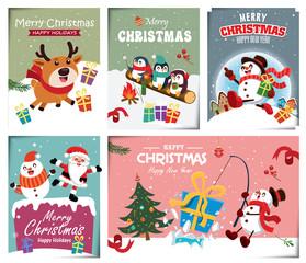 Vintage Christmas poster design with vector snowman, reindeer, penguin, Santa Claus, elf, fox characters.