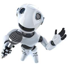 3d Funny cartoon robot character singing into a microphone